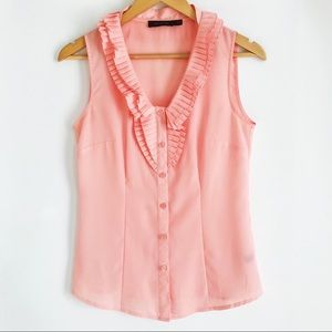 THE LIMITED Pink Ruffle Front Sleeveless Top